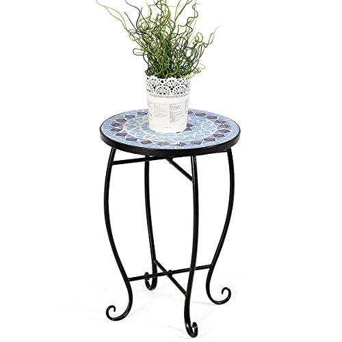 - Cypressshop Round Plant Stand Outdoor Indoor Steel Accent Table Blue Cobalt Scheme Garden Patio Standing Home Furniture