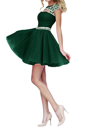Kurz Tuell Dunkelgruen Perlenstickerei Partykleid Abendkleid Damen Falte Missdressy wY0X1X