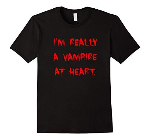 Men's I'm Really A Vampire At Heart - Dracula Shirt XL Black (Really Scary Halloween Costumes For Kids)