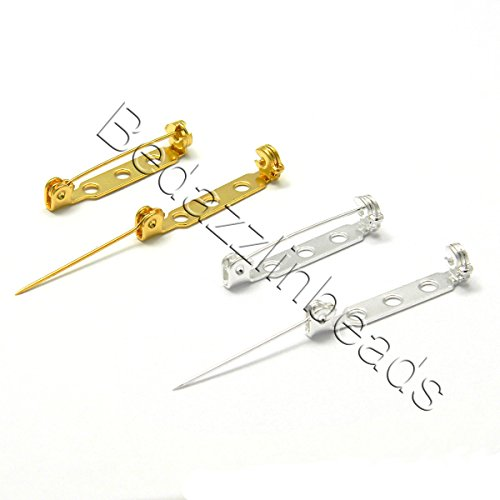 20 Locking 1 inch Long Flat Bar Brooch Pin Findings With Holes for Sew or Glue (Silver ()