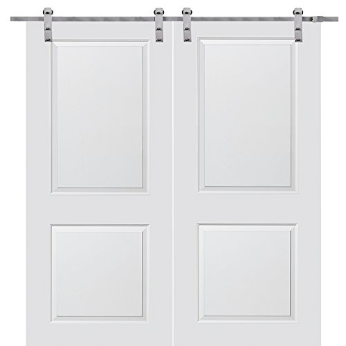 National Door Company ZZ364393 Solid Core, Primed, Molded 2-Panel, Double Barn Door Unit, 72″x84″