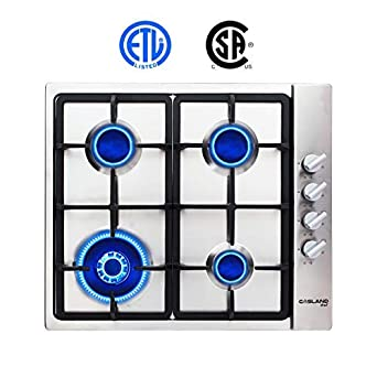 Gas Cooktop, Gasland chef Used GH60SSC 24'' Built-in Gas Stove Top, Stainless Steel LPG Natural Gas Cooktop with 4 Sealed Burners, ETL Safety Certified, Thermocouple Protection Easy To Clean Gasland chef Used GH60SSC 24'' Built-in Gas Stove Top