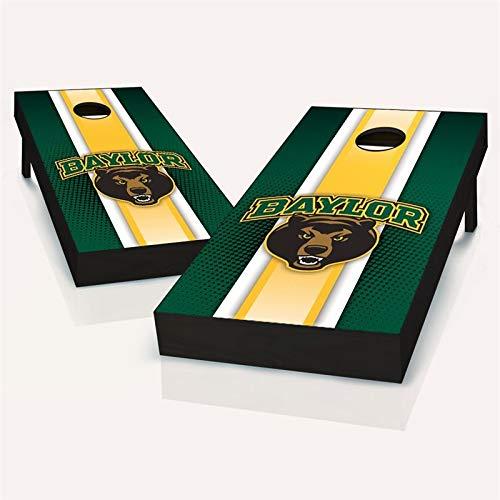 Baylor Bears ストライプコーンホールボード – サイズとアクセサリーを選択 – ボード2枚、チームロゴバッグ8枚