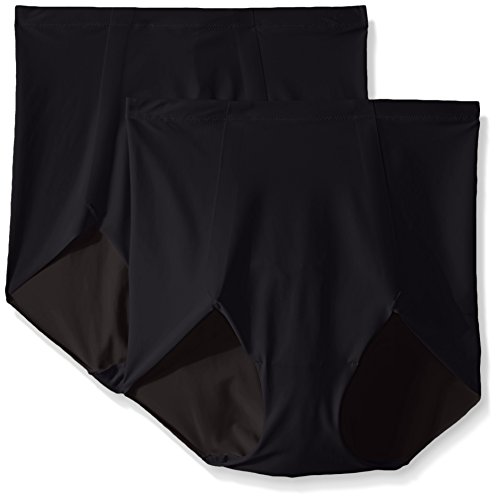 Flexees Women's Maidenform Sleek Smoother Brief, Black/Black, 2X-Large (Pack of 2) ()