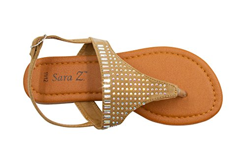 Sara Z Girls T Strap Thong Slingback Microsuede Sandals with Iridescent Rhinestone Studs Tan Size -