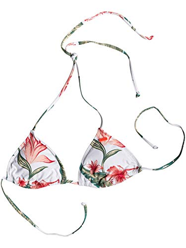 (Roxy Bright White Tropical Love Dreaming Day - Moderate Tiki Tri Womens Bikini T (M, White))
