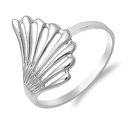 Unique Cutout Fan Shape Design Sterling Silver Womens Ring Size 8