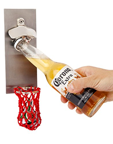BasketBeer Magnetic Beer Bottle Opener with a Stainless Steel backboard that magnets to a refrigerator fridge with Catching Basketball Hoop. Fun Novelty Gift for Dad and NBA fans