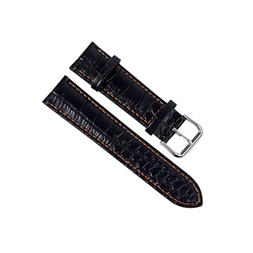 silver-buckle-22mm-replacement-black-genuine-leather-watch-strap-watch-band-alligator-grain-leather-