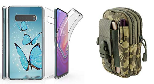 Beyond Cell Tri Max Series Compatible with Samsung Galaxy S10 with Slim Full Body Self Healing Screen Protector Case (Blue Butterfly), Travel Pouch (ACU Camo) and Atom Cloth from Bemz Depot