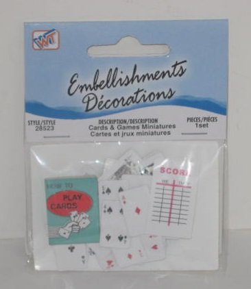 1 Package of Westrim Crafts Playing Cards & Games Miniatures Embellishments Decorations