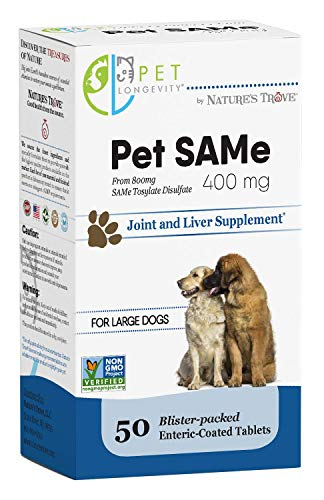 Pet Longevity Same 400 mg Pet Supplements - Liver and Joint Support for Large Dogs with Elevated Enzymes - S Adenosyl Methionine - 50 Gluten Free Enteric Coated Tablets - Non GMO Certified (Best Food For Dogs With Elevated Liver Enzymes)