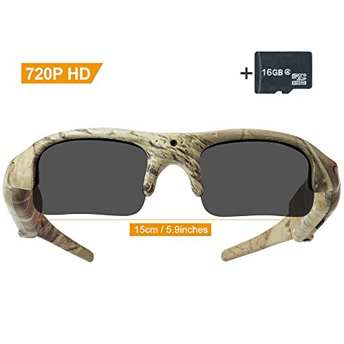 Toughsty16GB 720P HD Outdoor Hunting Camera Eyewear Camo Polarized Sunglasses Spy Video Recorder