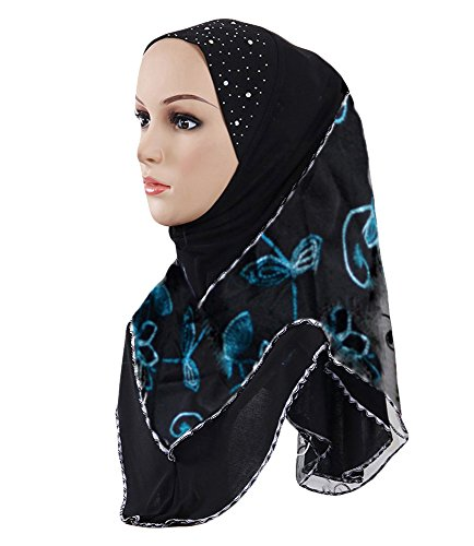 Hana's Womens 1 piece Instant Lace Hijab Scarf One Size Black Blue by Hana's
