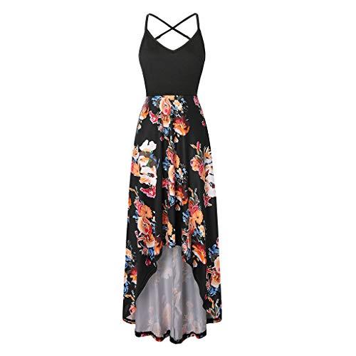 - Londony❀♪ Women's Summer Striped Print Maxi Dress Contrast Sleeveless Tank Top Floral Print Long Maxi Dresses Orange