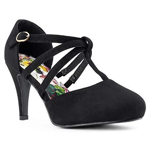 RF ROOM OF FASHION Coco-22 Women's Vegan D'Orsay Mary Jane T-Strap Mid Heel Dress Platform Pumps Shoes Black (11) (Cross Criss Mary Jane Platform)