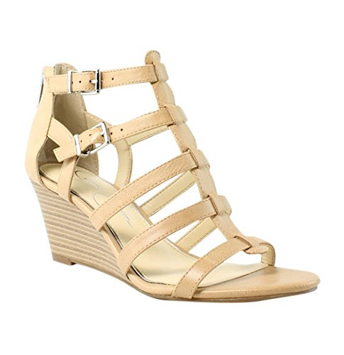 Jessica Simpson Women's Shalon Wedge Sandal, Buff, 6.5 Medium US