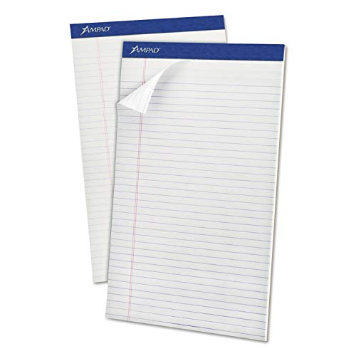 Ampad Perforated Writing Pad, 8 1/2 x 14, White, 50 Sheets, Dozen - 20-330 by Ampad (Image #1)