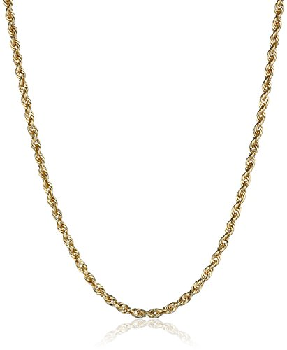 14k Yellow Gold Solid Diamond-Cut Rope Chain Necklace (2.0mm), 30'' by Amazon Collection