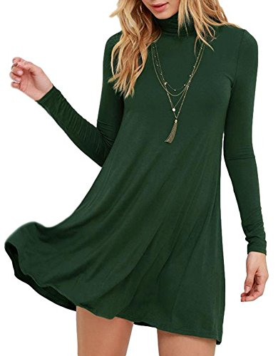 Flare Turtleneck (BomDeals Sway,Womens Casual Turtleneck Long Sleeves T-Shirt Loose Green/Green Swing Dress(Green,XS))