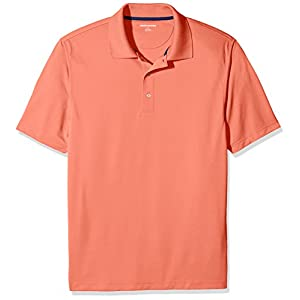 Amazon Essentials Men's Regular-Fit Quick-Dry Golf Polo Shirt, Coral, Large