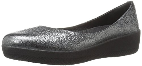 FitFlop Women's Leather Superballerina Ballet Flat, Anthracite, 5 M US by FitFlop