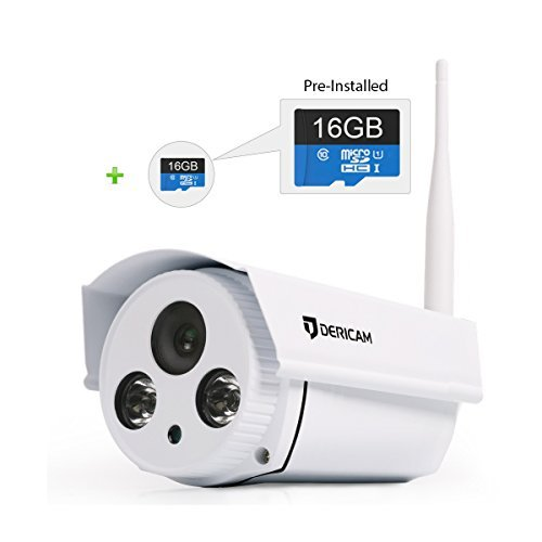 Dericam B1 16GB Megapixel HD 720P Wireless Outdoor Security Camera, WiFi Home Security Camera, Bullet IP Camera, 98ft Night Vision, Pre-installed 16 GB Micro SD Memory Card Dericam