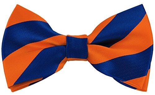 Collegiate Tie (Vincent Apparel Collegiate Stripe Pre-Tied Bow Ties (Multiple Colors) (Orange and Royal Blue))