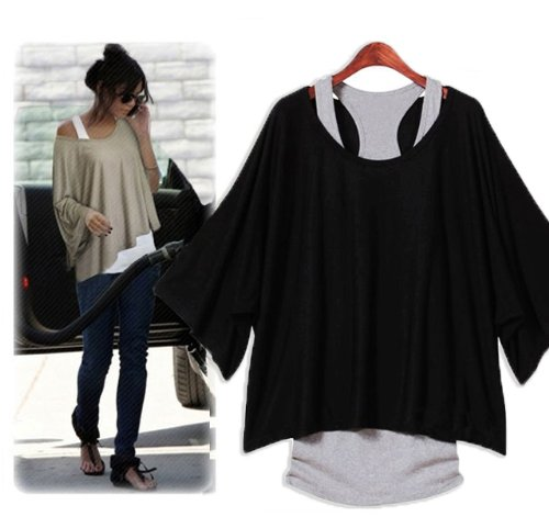 ZNU Women's Batwing Dolman T shirt Casual Loose Top Blouse + Tank Vest 2Pcs