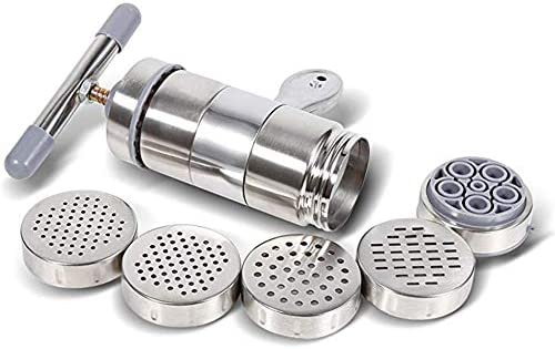 ClookYuan Edelstahl Haushalt manuelle Nudelmaschine Kleine manuelle Nudelmaschine Manuelle Drucknudelpresse Nudelmaschine Silber