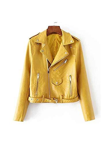 Pragmaticv Artificial Leather Jackets Autumn Street Short Washed PU Jacket Zipper Basic Jackets Slim Fit Women Coats Outwear Yellow