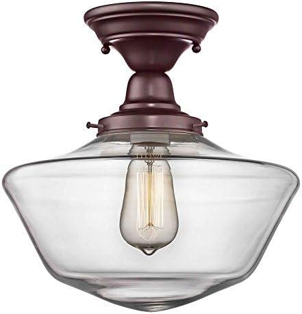 12-Inch Clear Glass Schoolhouse Semi-Flush Ceiling Light in Bronze Finish