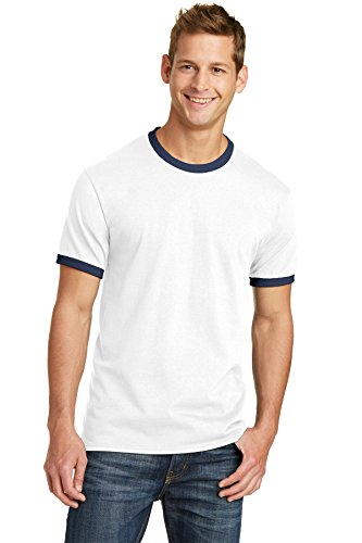 Port & Company 5.4-oz 100% Cotton Ringer Tee. PC54R White/Navy Large from PORT AND COMPANY