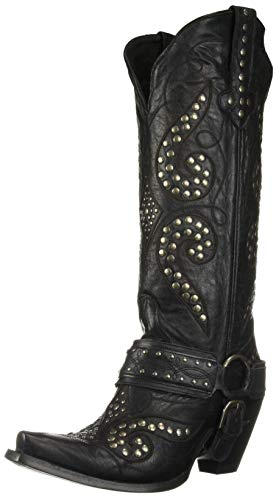 Lane Boots Women's Stud Royale Boot (Distressed), Black, 6.5 Medium US ()