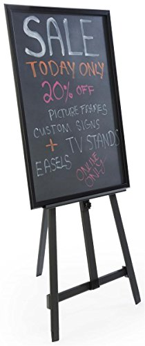 24 x 36-Inch Liquid Chalkboard with Heavy Duty Presentation Easel, Adjustable, Folding (Black Aluminum) by Displays2go