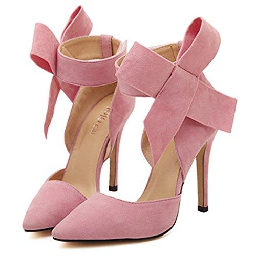 SAGUARO® Damen Pumps High Heels Übergröße Bogen Brautschuhe Ankle Boots