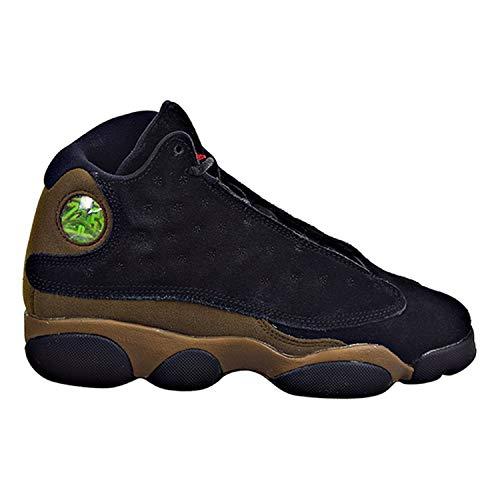 Jordan Nike Kids Air 13 Retro BG Black/True Red/Light Olive Basketball Shoe 6 Kids US