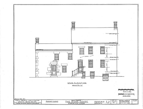 historic pictoric Blueprint Diagram HABS CONN,1-STAN.V,1- (sheet 5 of 9) - Stone House, Farms Road, Stanwich, Fairfield County, CT 14in x 11in