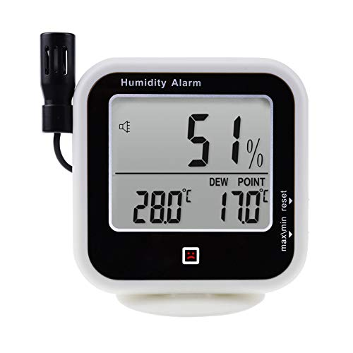 Digital Indoor or Outdoor Hygrometer and Thermometer Thermo-hygrometer, Dew Point Humidity Alarm 14~140°F Temperature Monitor Meter, Handheld/Wall-mount/Desktop