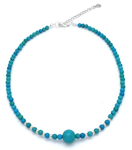 """DEW Drops Reconstructed Turquoise and Sterling Silver Beads Pendant Choker Necklace 14"""" + 2.5"""" Extender"""