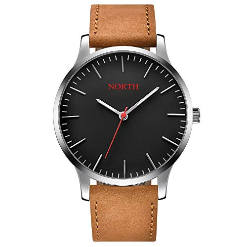 NORTH Men's Minimalist Slim Watch Quartz Analog Watch Casual Brown Leather Watch Young Sports Watch Red Second Hand and Red Logo