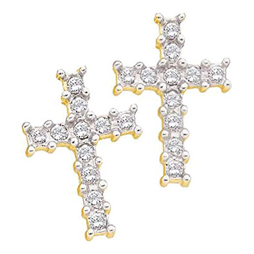 Aienid 14K Yellow Gold 0.11Ct Diamond Cross Earrings for Women ()