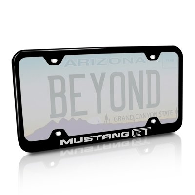 Ford 05 to 10 Mustang GT Black Steel Wide License Plate Frame
