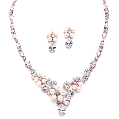 Mariell Cultured Freshwater Pearls & CZ Rose Gold Plated Wedding Necklace and Earrings Set for Brides ()