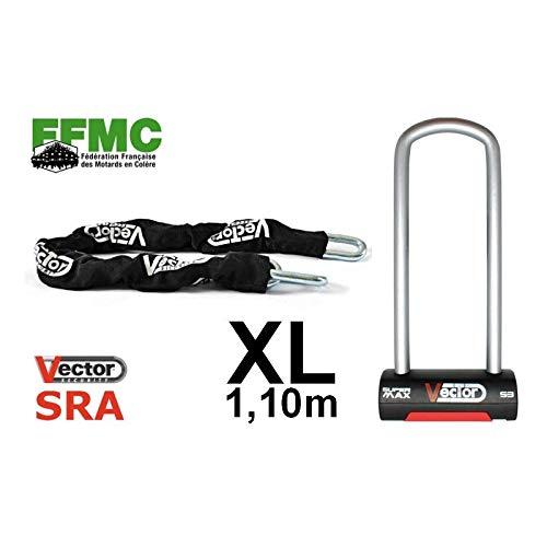 Vector Kit antivol chaîne 1, 10m + antivol U Super Max 90x290mm - Classe SRA - Recommandé FFMC 10m + antivol U Super Max 90x290mm - Classe SRA - Recommandé FFMC 92808