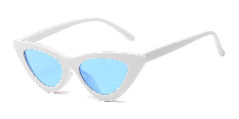 XFentech Mode Femmes Rétro UV400 Classique Triangle Œil de Chat Lunettes Lunettes de soleil, Blanc(Cadre)-Bleu(Lentille)