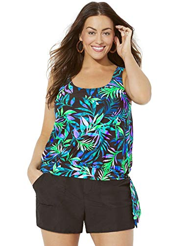 - Swimsuits for All Women's Plus Size Wildwood Side Tie Blouson Cargo Shortini 12 Multi