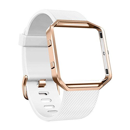 DECVO For Fitbit Blaze Bands, Silicone Replacement Band Strap with Stainless Steel Frame Case for Fitbit Blaze Smart Fitness Watch for Women Men Girls Boys Rose Gold Case (WHITE, 1 - Rose Fossil White Gold And Watch