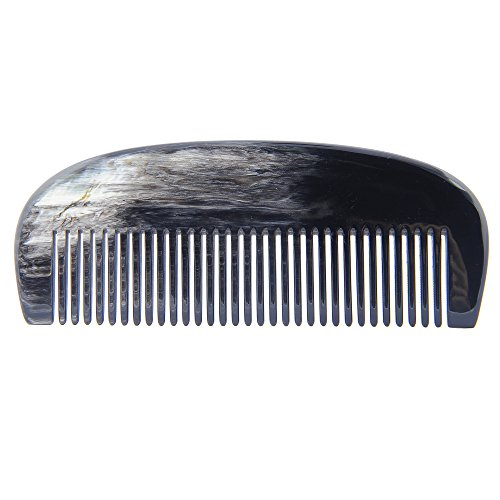 Marycrafts Buffalo Horn Beard Comb Moustache Combs Anti Static Comb 5.5″x2.1″ Dark shade