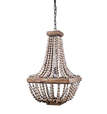 "Creative Co-Op Metal Chandelier with Wood Beads, 16.5"" Square by 28"" Height"